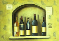 "Wine Bottles Hand Painted Oil Painting On Canvas 36"" x 24"" Kitchen or Restaurant"