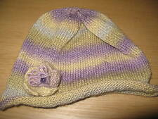 Hand Knitted Hat with Detachable Flower Decoration: Moonlight