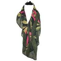 A New Day Floral Tropical Scarf Drape Wrap Sheer Lightweight Green Multi NWT