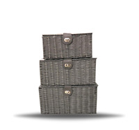 Storage Basket Hamper Resin Woven Grey Set of 3 Box With Lid & Lock