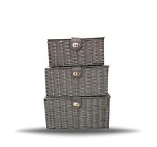 Storage Basket Hamper Resin Woven Grey Set of 3 Box With Lid & Lock