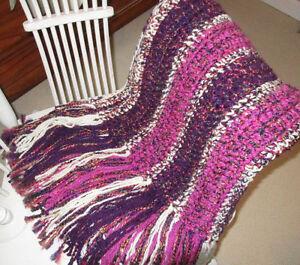 Crochet Throw~Blanket~with Fuscia, Plum & Cream Colors