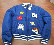 NWT FOREVER 21 patch puffer jacket 84 Unicorn Rainbows Smiley Face Whatever Sm