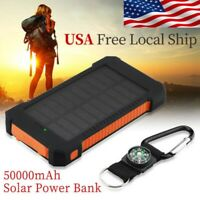 Portable Dual-USB Waterproof Solar Power Bank LED LCD Compass Battery Charger