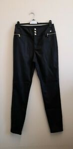 River Island Black Coated Skinny Trousers size UK14 EUR 40 {R101}