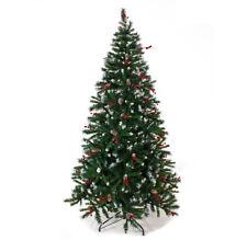 Albero di Natale con Bacche Pigne e Punte Innevate effetto reale Canada 210 cm