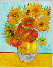 "Handmade oil on canvas reproduction of Van Gogh sunflower oil painting 16""x20"""