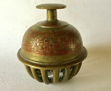 """Large Vintage BRASS Elephant CLAW TEMPLE BELL 4 1/2"""" Tooled Enamel Floral INDIA"""