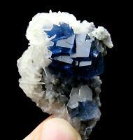 38.5g Transparent Blue Cube Fluorite & Calcite Crystal Mineral Specimen/China
