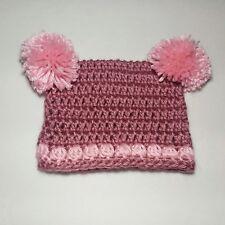 New listing Handmade Crochet Beanie Nwt Squared Pom-Poms Pink Baby