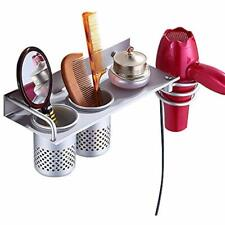 Hair Dryer Storage Rack Holder Wall Mount Bathroom Organizer Cosmetic Brush Comb