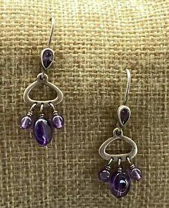 SILPADA Sterling Silver Amethyst Dangle Earrings W1781 HTF