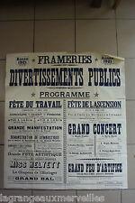 AUTHENTIQUE AFFICHE DU 1er  MAI 1921 fête du travail FRAMERIES