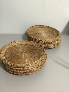 15 Wicker Woven Rattan Paper Plate Holders 2 Sizes Picnic Wall Decor Vintage