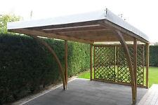Carport in legno 5x3x2,70 copertura per auto, gazebo garage in pino impregnato
