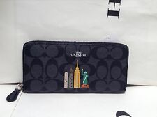 NWOT COACH SIGNATURE NYC SKYLINE SLIM ACCORDION ZIP WALLET F57821