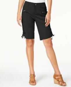 MSRP $50 Style & Co Zipper Bermuda Cargo Shorts Black Size 4