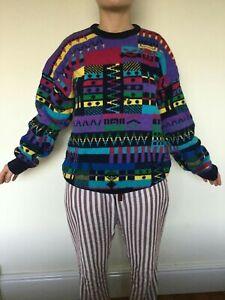 Designer handmade unique multi-coloured knitted Zie Zae size L unisex jumper