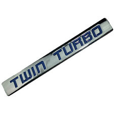 CHROME/BLUE METAL TWIN TURBO ENGINE MOTOR SWAP EMBLEM BADGE FOR HOOD DOOR  A