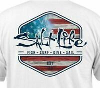 Salt Life Ameriseas Men's White Graphic T-Shirt Size M L XL 2XL Short Sleeve Top