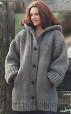 """Chunky Wool Hooded Jacket  Pockets~ Large Size  46"""" - 66"""" Easy  Knitting Pattern"""