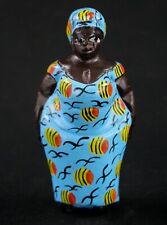 Art Africain - Ravissante Statue Bois Femme Colon Aoulaba Peinte - 16 Cms ++++++
