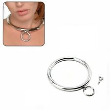 Metal Slave Rolled Collar Neck Restraints Locking Choker Necklace Ring