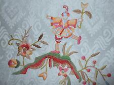 6Y new LEE JOFA fabric LOCKELY EMBROIDERY multicolor on Aqua Asian motifs