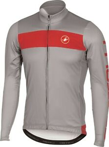 Castelli Raddoppia Men's Fleece Long Sleeve Cycling Jersey : Storm Grey Large