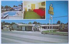 Vintage Chrome Key Motel Interior Pool Exterior Views Seguin Texas Postcard