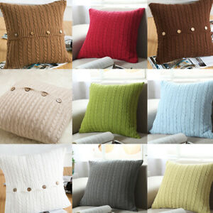 Square Knitted Pillow Case Throw Waist Sofa Bed Cushion Cover Buttons Home Decor