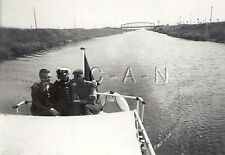 WWII German Navy RP- Kriegsmarine- Sailor- Hat- Uniform- Motorboat- River- 1940s