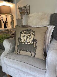 Next Rare Hessian Jute French Chair Grey Cushion Shabby Chic