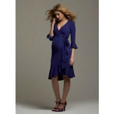 NWT Isabella Oliver Premium Maternity Ruffle Wrap French Navy Blue Dress 3 $195