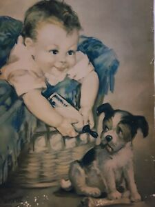 Vintage 1930's Laurette Patten 'Everybody Likes It' Gorgeous Baby & Puppy Print