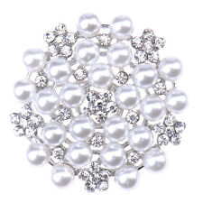 Pearl Flower Rhinestone Crystal Round Bouquet Brooch Pins Wedding Bridal Party