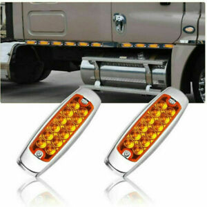 20 PCS Amber Side Marker Light Clearance 12-LED Truck Trailer For Peterbilt 12V