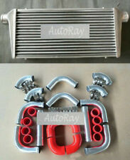 """Universal 300x600x70mm intercooler + 3"""" Aluminium Piping & Red Silicone Hoses"""