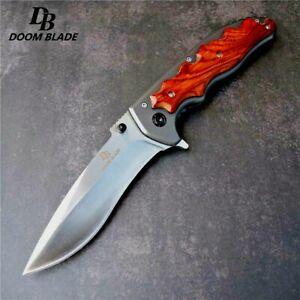 "Drop Point Folding Knife Pocket Flipper Hunting Survival Tactical Wood Handle 4"""