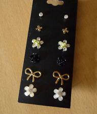 Set van 6 paar oorbellen bloem kruis roos strik  NIEUW