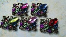 Rhinestone Jewel Beads, Butterfly Bead. 5 Pieces Sample Set . Jewelry Supply