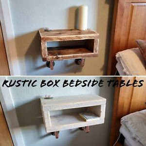 Rustic Box Bedside Table, supported by Industrial Designed Copper Pipe Brackets