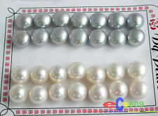 p2866 wholesale 14pair white gray ROUND FRESHWATER PEARL EARRING 925ss