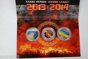 3 Ukraine coins 2015 Euromaidan Revolution of dignity Heaven hundred in case