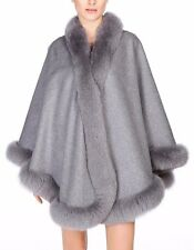 Grey Cashmere Cape Wrap Shawl with Fox Fur Trim New