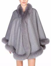 Gray Cashmere Cape Wrap Shawl with Fox Fur Trim New