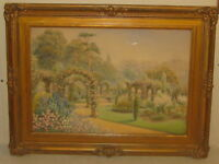 Vintage LOUIS ROLFE 'Flower Garden in Bloom' PAINTING - Listed English Artist
