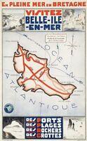 "Vintage Illustrated Travel Poster CANVAS PRINT Atlantic Ocean 24""X16"""