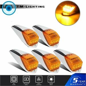 For Peterbilt Kenworth Freightliner Amber Chrome LED Cab Marker Lights 5 pcs