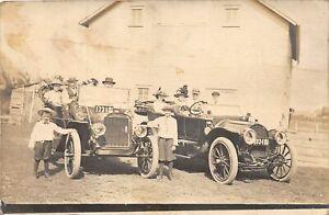 H73/ Linton Iowa RPPC Postcard c1912 Early Automobiles Family 71